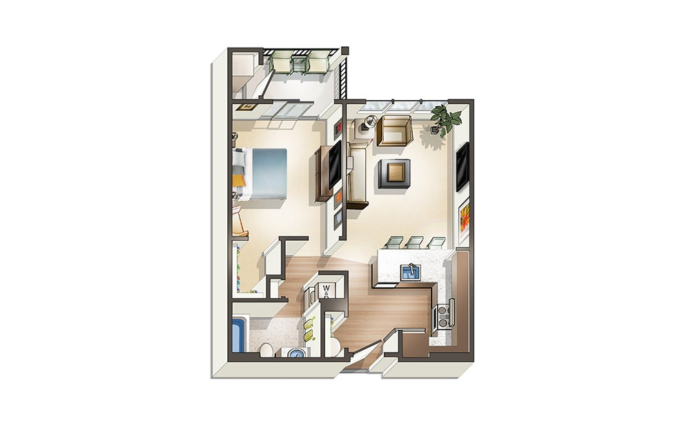 Apartment A1 - 1 bedroom floorplan layout with 1 bath and 656 square feet.