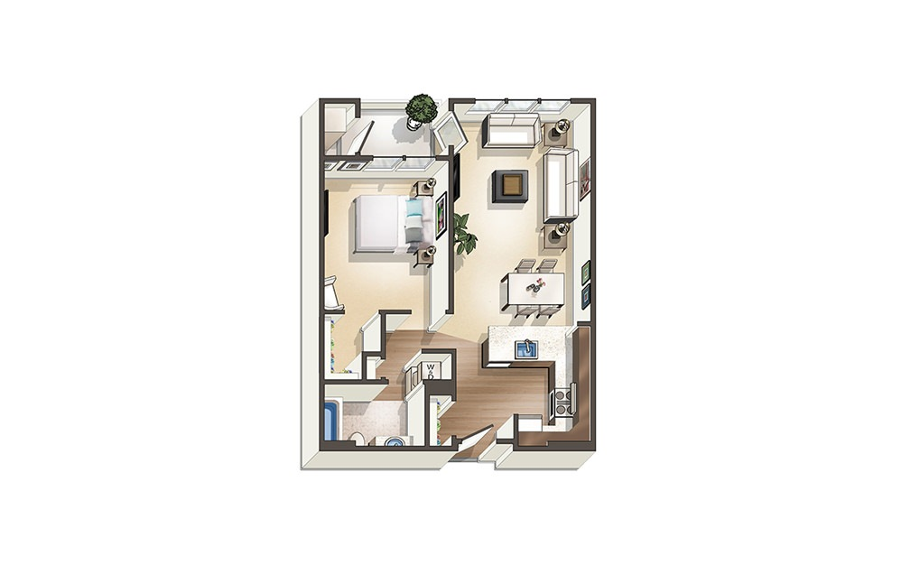 Apartment A3 - 1 bedroom floorplan layout with 1 bath and 721 to 752 square feet.