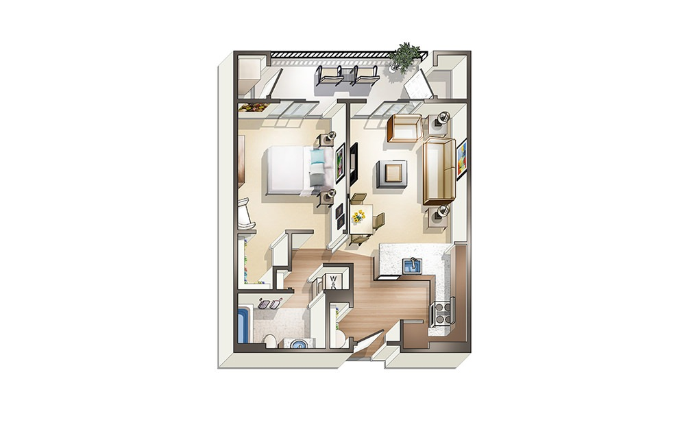 Apartment A4 - 1 bedroom floorplan layout with 1 bath and 656 to 874 square feet.
