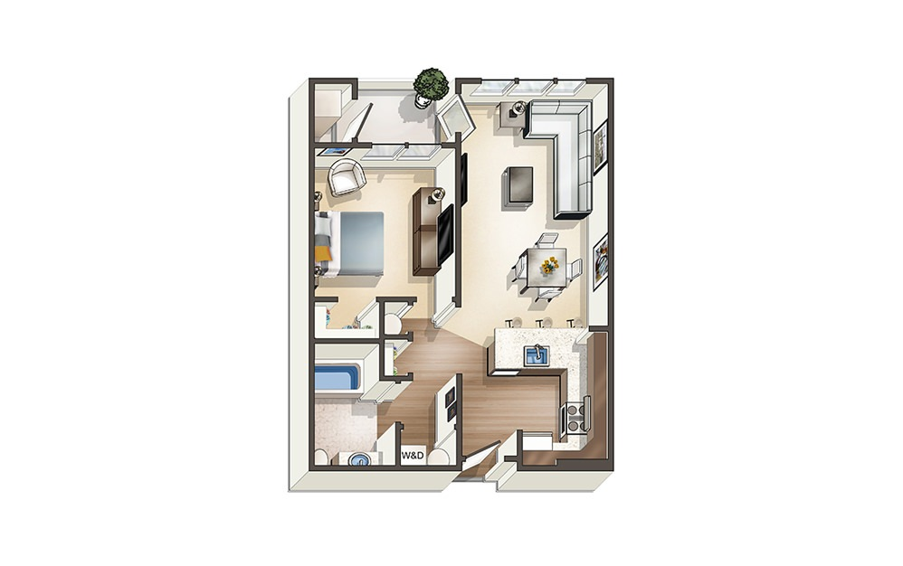 Apartment A5 - 1 bedroom floorplan layout with 1 bath and 706 to 807 square feet.