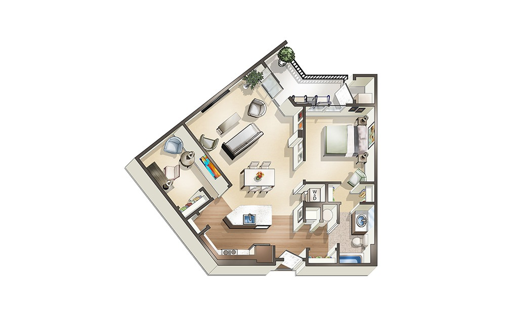 Apartment B1 - 1 bedroom floorplan layout with 1 bath and 929 square feet.