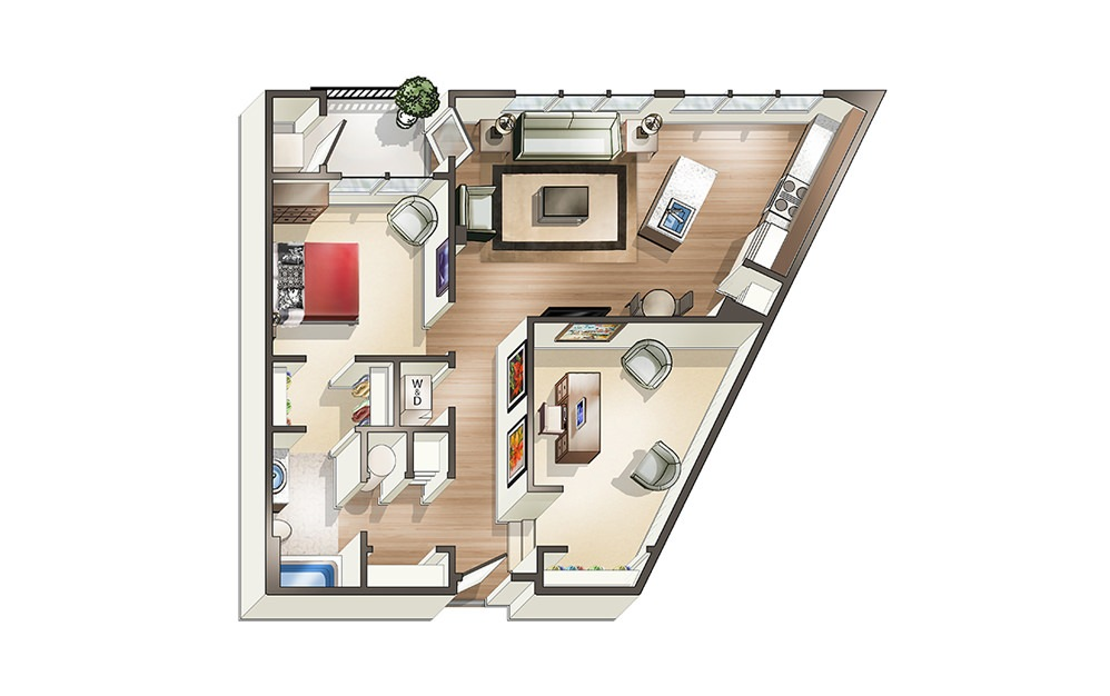 Apartment B2 - 1 bedroom floorplan layout with 1 bath and 921 square feet.