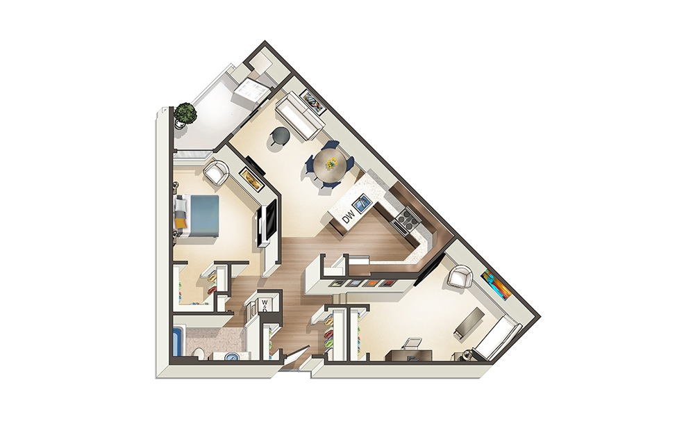 Apartment B3 - 1 bedroom floorplan layout with 1 bath and 1051 square feet.