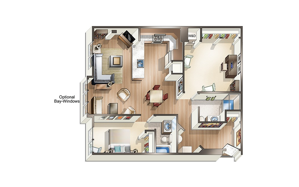 Apartment C1 - 1 bedroom floorplan layout with 2 baths and 1105 square feet.