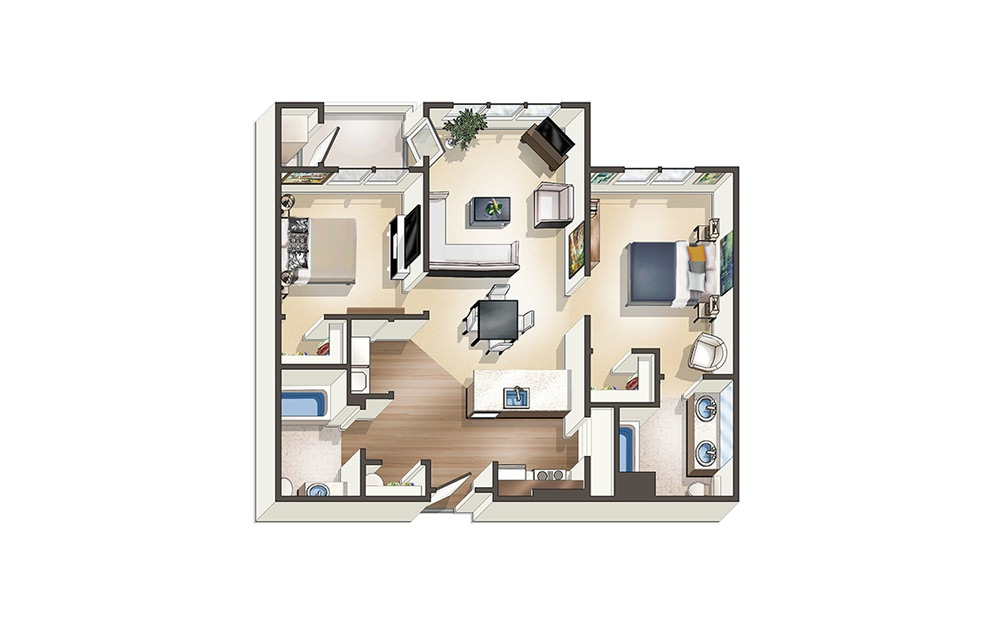 Apartment D1 - 2 bedroom floorplan layout with 2 baths and 1020 to 1140 square feet.