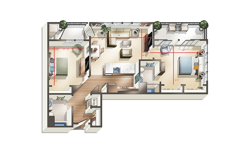 Apartment D2 - 2 bedroom floorplan layout with 2 baths and 1042 to 1138 square feet.