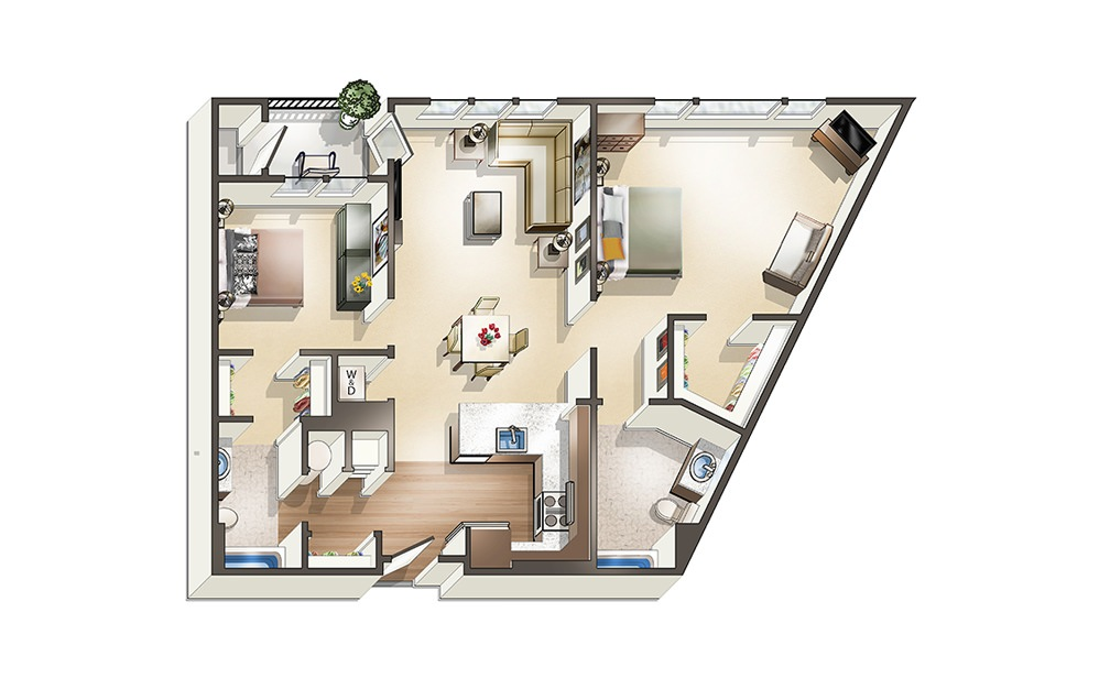 Apartment D3 - 2 bedroom floorplan layout with 2 baths and 1147 square feet.