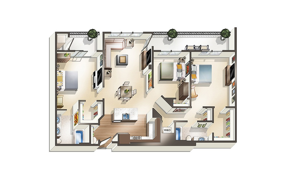 Apartment E1 - 3 bedroom floorplan layout with 2 baths and 1365 square feet.