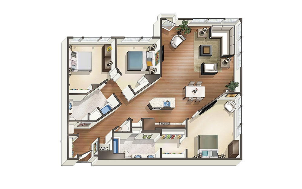 Apartment E2 - 3 bedroom floorplan layout with 2 baths and 1449 square feet.
