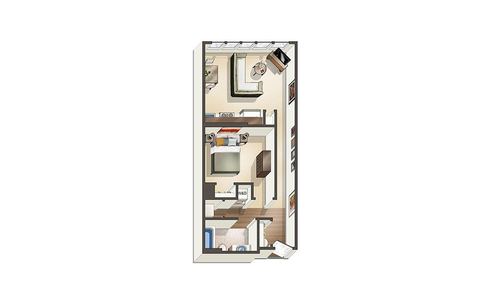 Apartment S1 - Studio floorplan layout with 1 bath and 611 square feet.