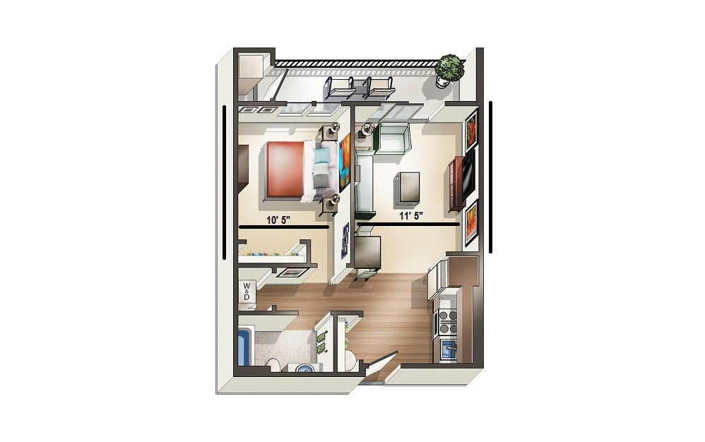 Apartment A2 - 1 bedroom floorplan layout with 1 bath and 627 square feet.